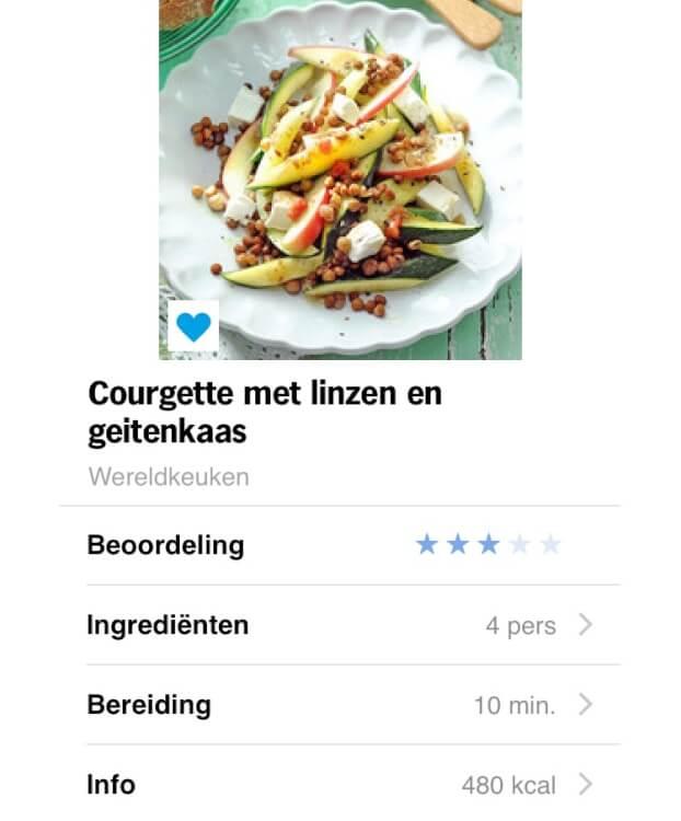 snelle linzen courgette salade